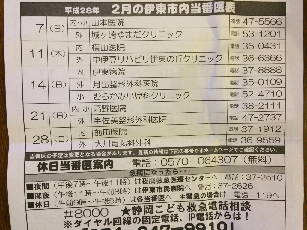 平成28年2月の静岡県伊東市の休日当番医表