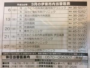 2016年3月静岡県・伊東市内の休日当番医表