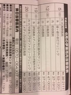 6月の静岡県伊東市内の休日当番医表